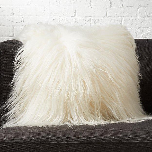 "icelandic sheepskin 16"" pillow with down alternative insert"