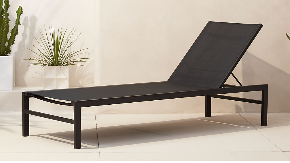 idle black outdoor chaise lounge cb2