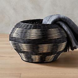 ikat grey and white basket