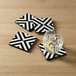 inlay wood black and white coasters set of four