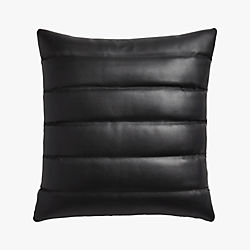 "izzy black leather 18"" pillow"