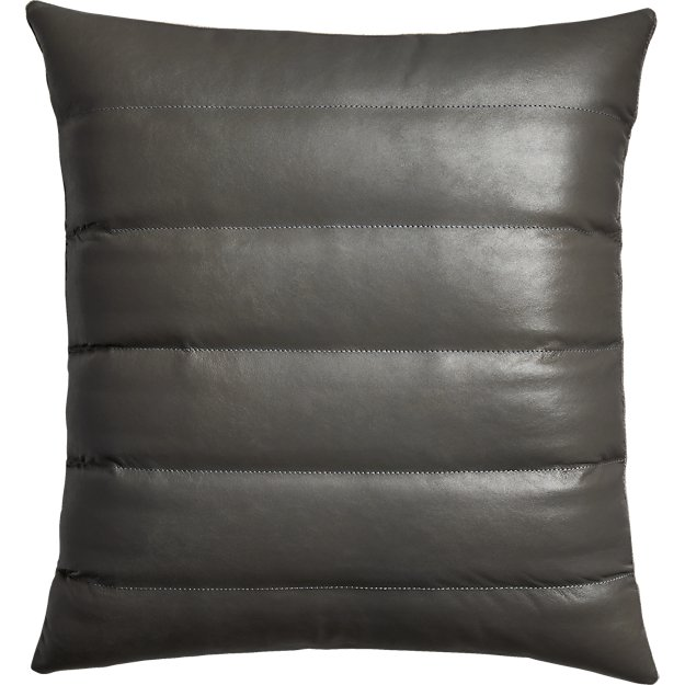 "izzy grey leather 18"" pillow"