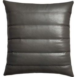 "izzy grey leather 18"" pillow"