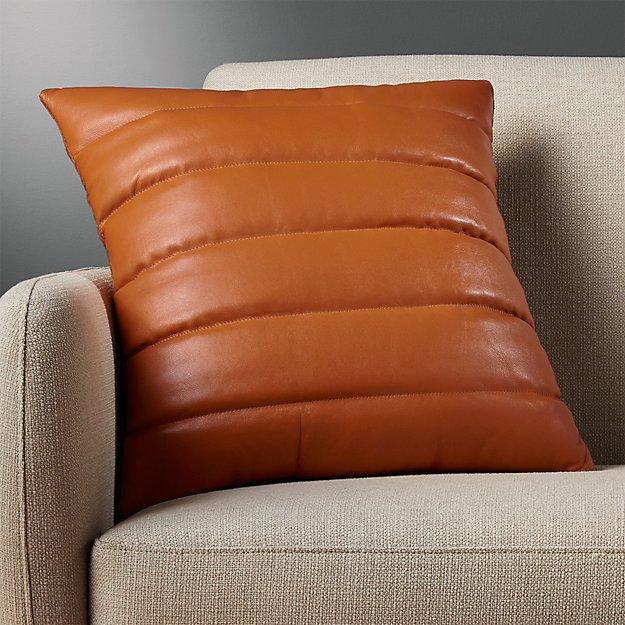 "izzy saddle leather 18"" pillow"