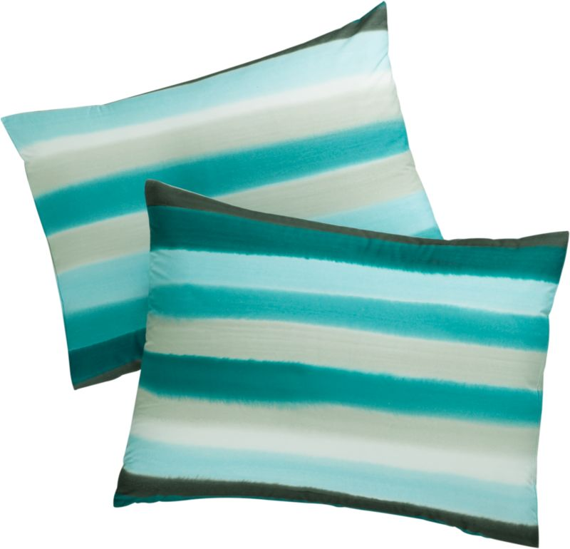 "<span class=""copyHeader"">serene dreams.</span> Handpainted textile art pays homage to traditional Jaipuri dyeing techniques in a stunning striation of fluid color. Local artisans mix dyes by hand to create a rich palette of green, blue and grey that's artfully brushed on white 100% cotton. Stretched on a frame, the fabric is dampened to render a soft watercolor effect with each stroke. This rare art form provides jobs to talented artisans in Delhi where employment for this skill is now scarce. Striped shams and matching duvet reverse to solid white. Shams are finished neat with envelope closures.<br /><br /><NEWTAG/><ul><li>Handpainted</li><li>100% cotton</li><li>Shams have envelope closure; reverse to solid white</li><li>Machine wash cold; line dry</li></ul><br />"