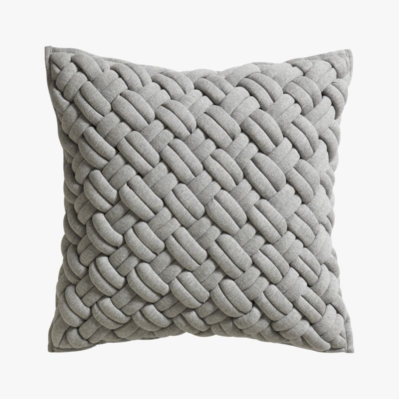 "jersey interknit grey 20"" pillow with feather insert"