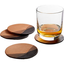 jig charcoal dipped leather coasters set of four