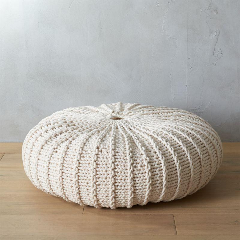 Ottoman Coffee Table Cb2: Jumbo Knit Natural Pouf
