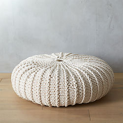 jumbo knit natural pouf