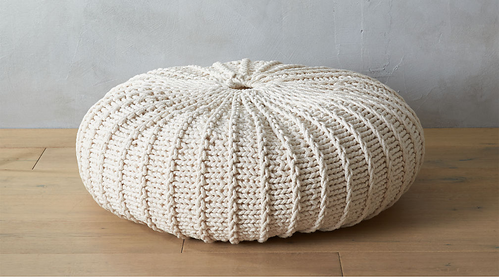 Jumbo Knit Natural Pouf Cb2
