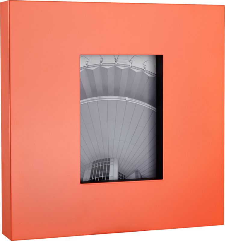 "<span class=""copyHeader"">snappy shot.</span> Finished in a bold pop of neon peach, bold steel square insets a 5""x7"" photo. Freestands or frames the wall with broad, overscaled border. Capture a modern moment with kat copper 5""x7"" frame.<br /><br /><NEWTAG/><ul><li>Steel frame</li><li>Neon peach powdercoat finish</li><li>Glass cover</li><li>Holds 5""x7"" photo</li><li>Wipe with soft, dry cloth</li></ul>"
