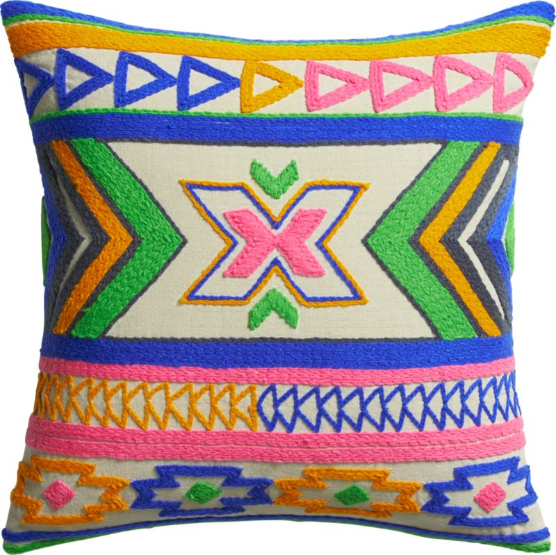 "kilim embroidery 16"" pillow with down-alternative insert"