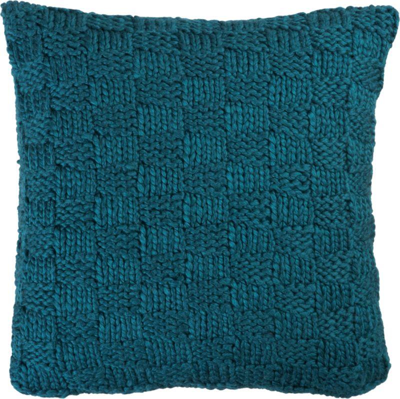 "knit blue-green 18"" pillow with down-alternative insert"