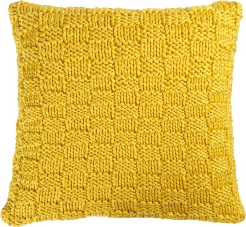 "knit yellow 18"" pillow with down-alternative insert"