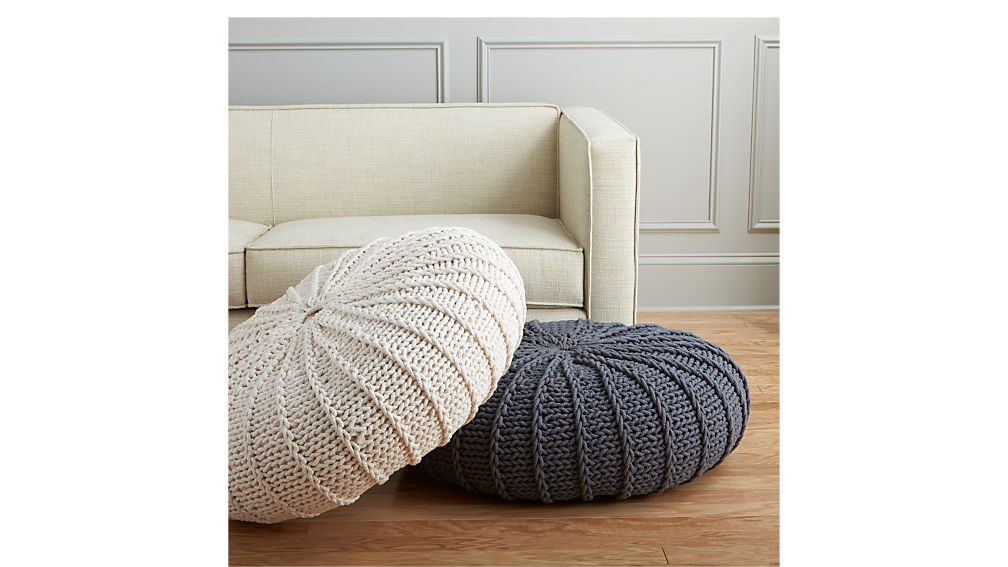 jumbo knit natural pouf