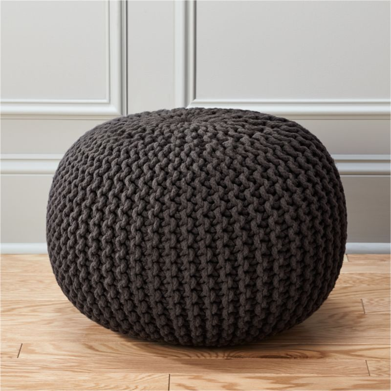 knitted graphite pouf cb2. Black Bedroom Furniture Sets. Home Design Ideas