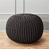knitted graphite pouf.