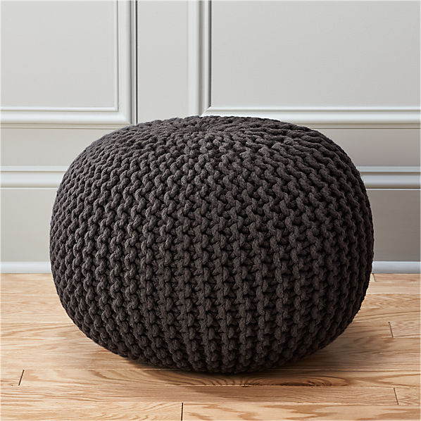 Knitted graphite pouf cb2 - Knitted pouf ottoman pattern ...
