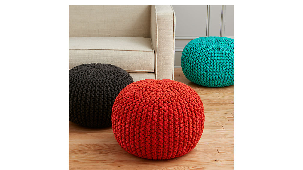 knitted blood orange pouf