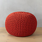 knitted blood orange pouf.