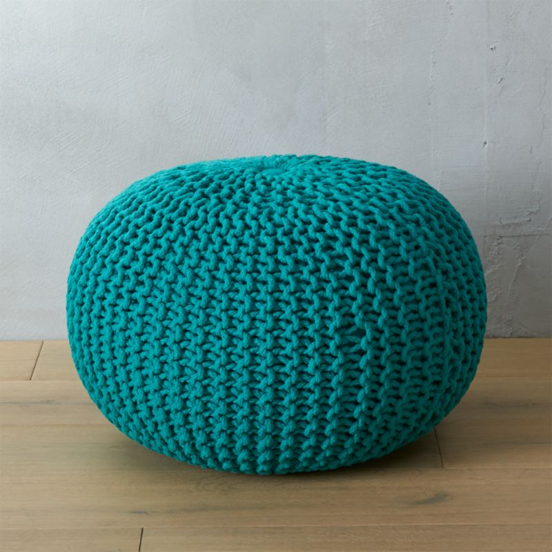 Knitted Teal Pouf Cb2