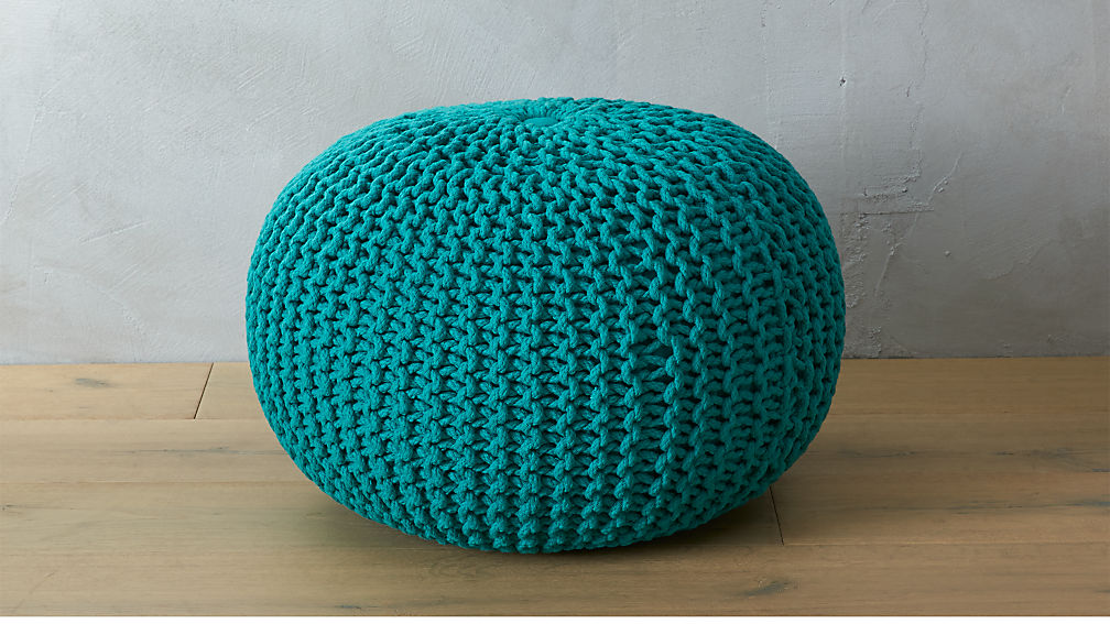knitted teal pouf