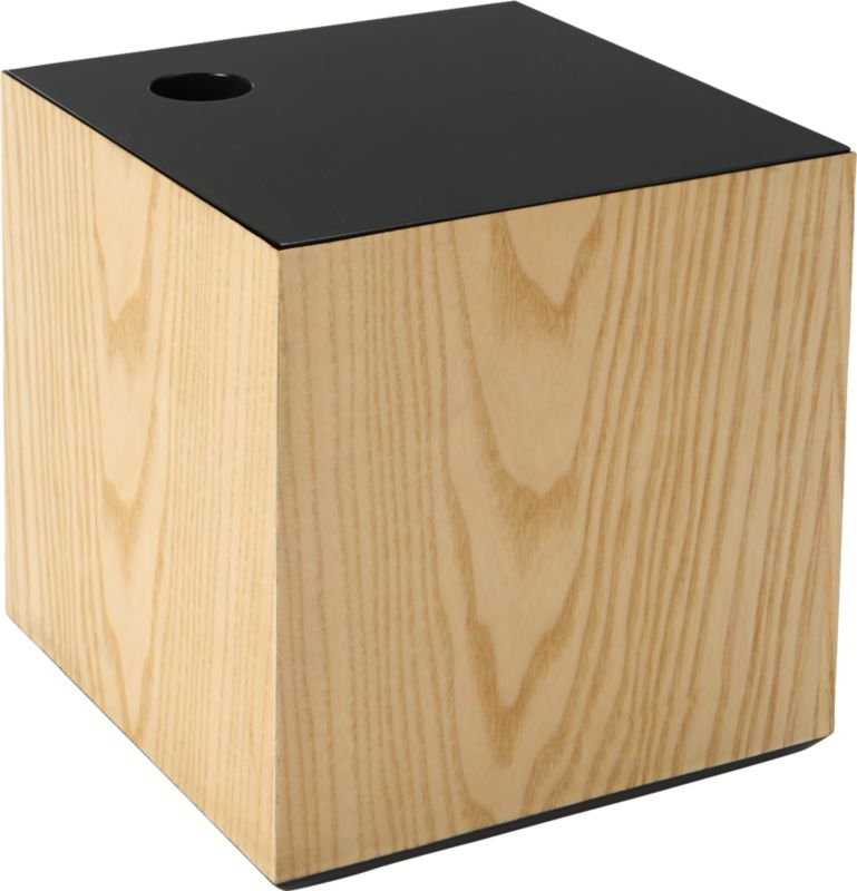 "<span class=""copyHeader"">top it off.</span> Woodsy cube goes pop with a blue lacquered top. Inset lid lifts off easy with cutout notch, revealing continuous color within—a bold contrast to natural grain of ash veneer. With a peek of blue beneath, it's a bright spot to store photos, gadgets and office supplies. Fun with lacquer lid small peach box.<br /><br /><NEWTAG/><ul><li>Handmade</li><li>Engineered wood with ash veneer</li><li>Lid, interior and base are lacquered blue</li><li>Cutout notch on lid for easy opening</li><li>Clean with damp cloth</li></ul>"