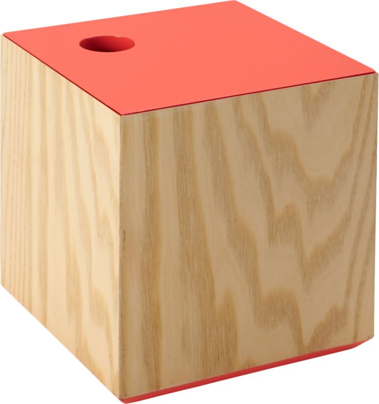 """<span class=""""copyHeader"""">top it off.</span> Woodsy cube goes pop with a peach lacquered top. Inset lid lifts off easy with cutout notch, revealing continuous color within—a bold contrast to natural grain of ash veneer. With a peek of peach beneath, it's a bright spot to store photos, gadgets and office supplies. Fun with lacquer lid large blue box.<br /><br /><NEWTAG/><ul><li>Handmade</li><li>Engineered wood with ash veneer</li><li>Lid, interior and base are lacquered peach</li><li>Cutout notch on lid for easy opening</li><li>Clean with damp cloth</li></ul>"""