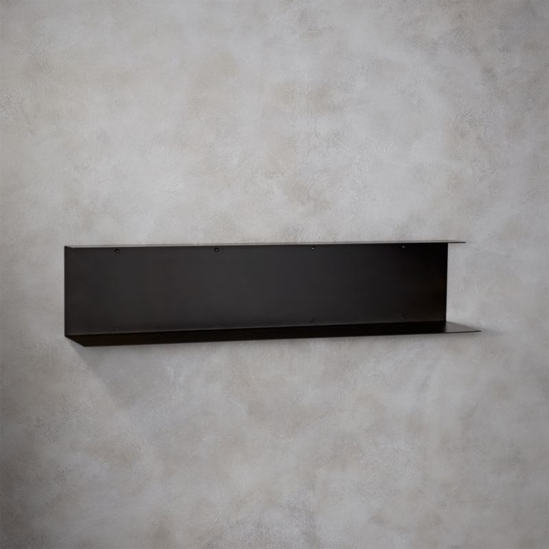 Bent metal black wall shelf cb2 - Wall metal shelf ...