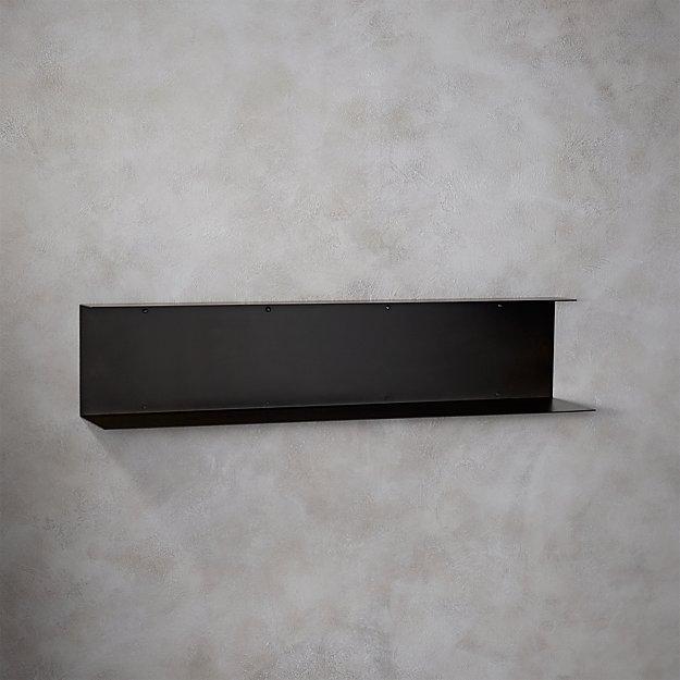 bent metal black wall shelf