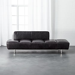lawndale black leather daybed with chrome base