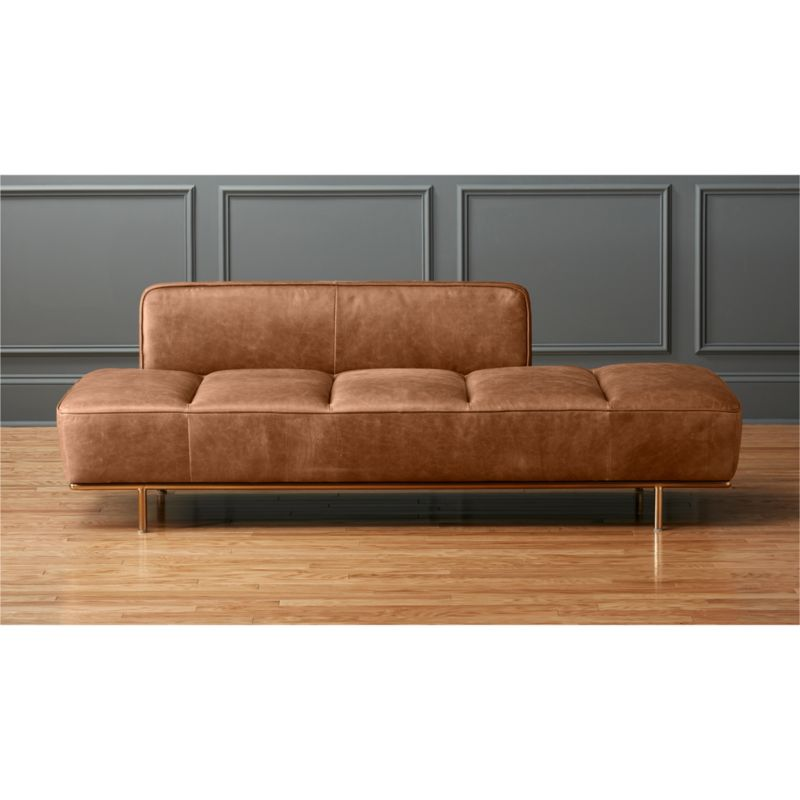 Lawndale brown leather daybed with brass base cb2 for Cb2 leather sectional