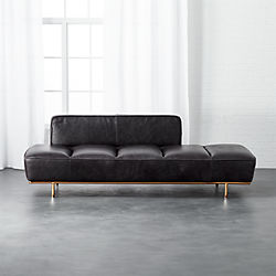 lawndale black leather daybed with brass base