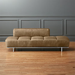 lawndale brown leather daybed with chrome base