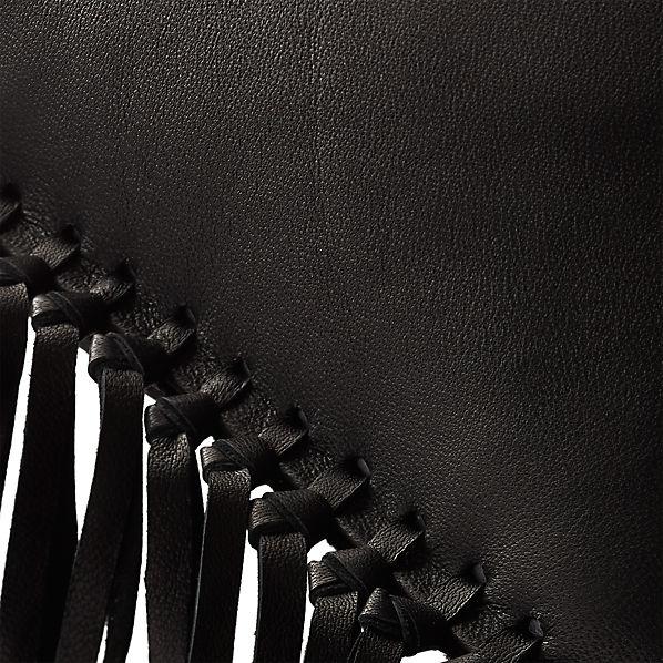LeatherFringeBlackPillow18x12AV2F16