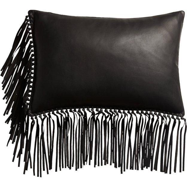 "leather fringe black 18""x12"" pillow"