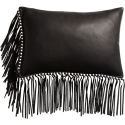 "leather fringe black 18""x12"" pillow"