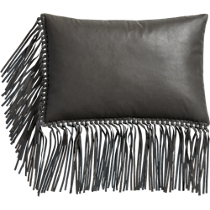 "leather fringe grey 18""x12"" pillow"