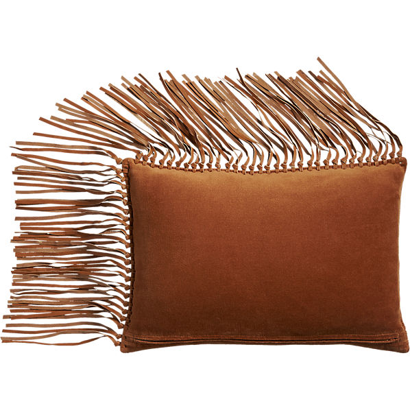 LeatherFringeSaddlePillow18x12AVF16