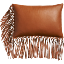 "leather fringe saddle 18""x12"" pillow"