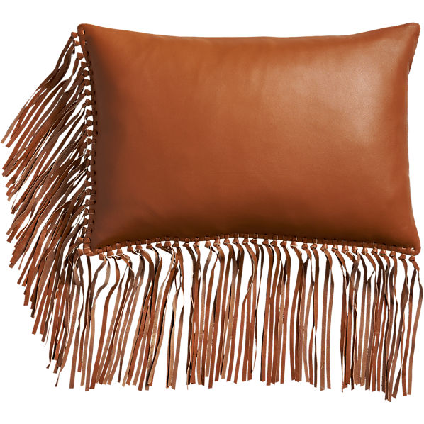 LeatherFringeSaddlePillow18x12F16