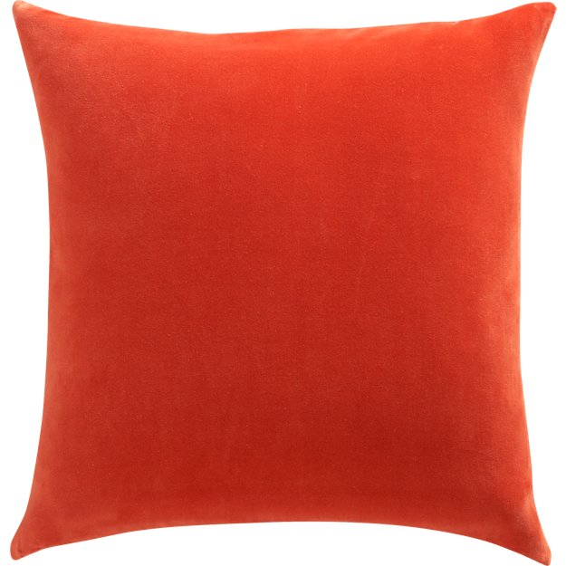 "leisure burnt orange 23"" pillow with feather-down insert"