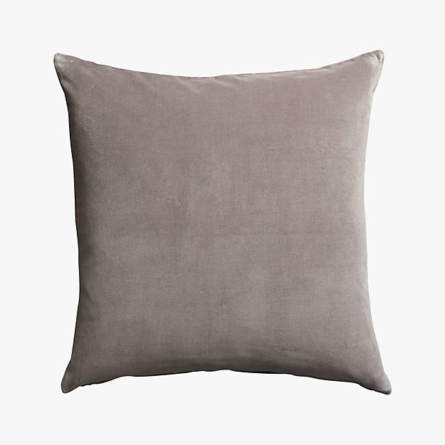 "leisure grey 23"" pillow with feather-down insert"