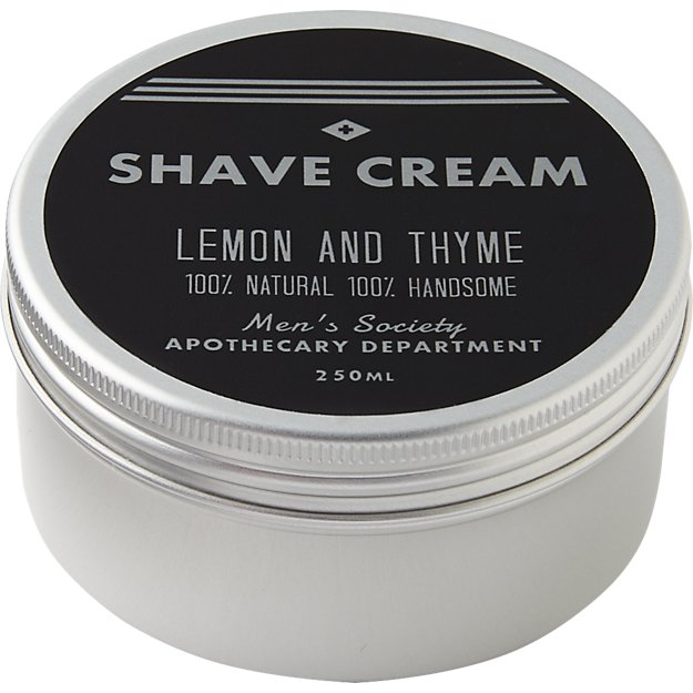 men's society lemon and thyme shave cream