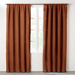 dark copper linen curtain panel