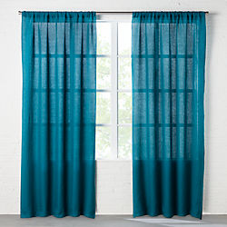 linen teal curtain panel