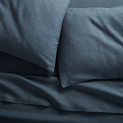 linen navy sheet sets