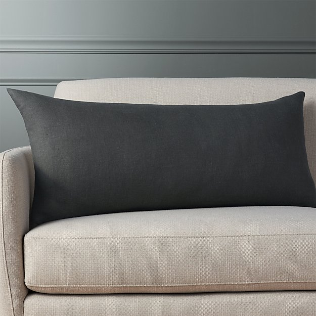 "linon dark grey 36""x16"" pillow"