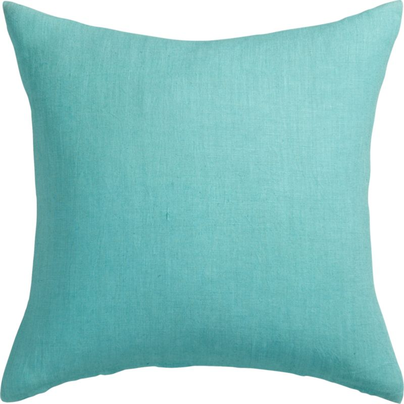 "linon aqua 20"" pillow with feather-down insert"