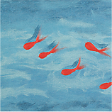 liora goldfish blue carpet square